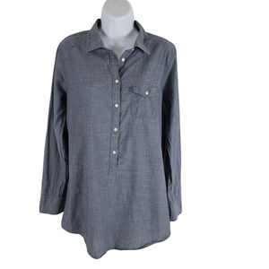 J. Crew Half Button Pullover Shirt Small Oversize Roll Tab Sleeve Chambray Blue